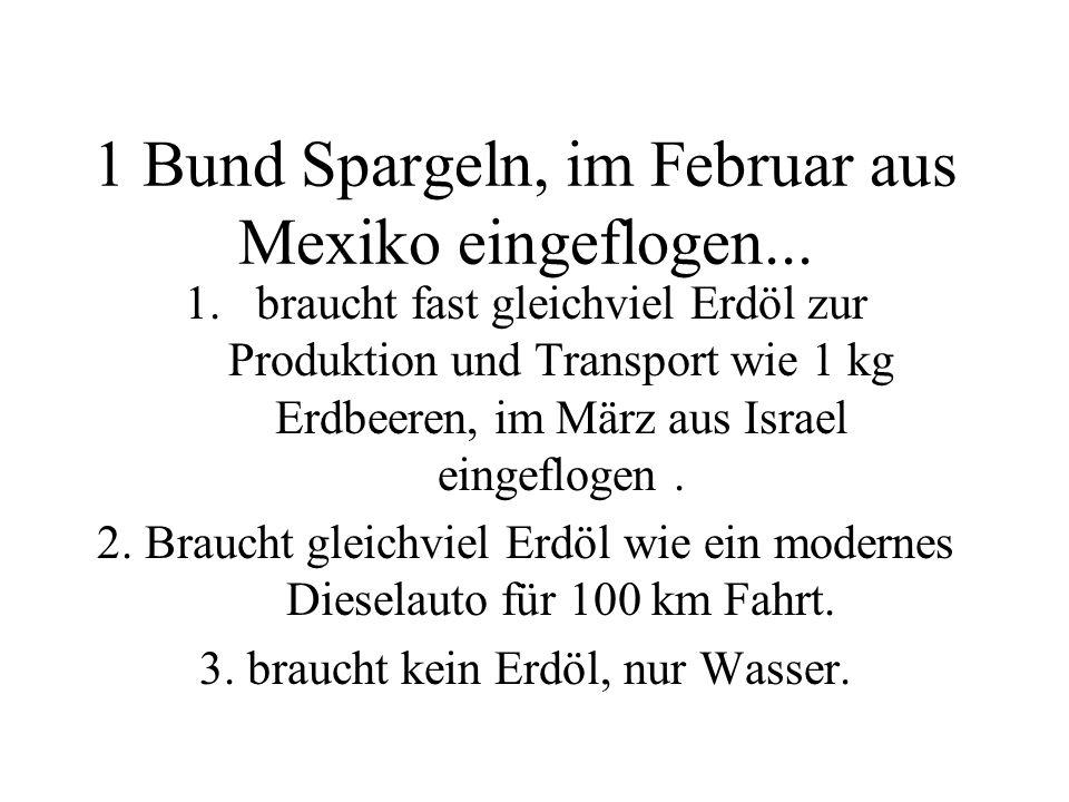 1 Bund Spargeln, im Februar aus Mexiko eingeflogen...