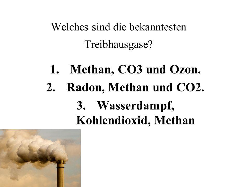 Welches sind die bekanntesten Treibhausgase. 1.Methan, CO3 und Ozon.