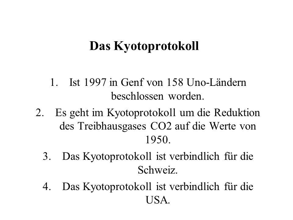 Das Kyotoprotokoll 1.Ist 1997 in Genf von 158 Uno-Ländern beschlossen worden.