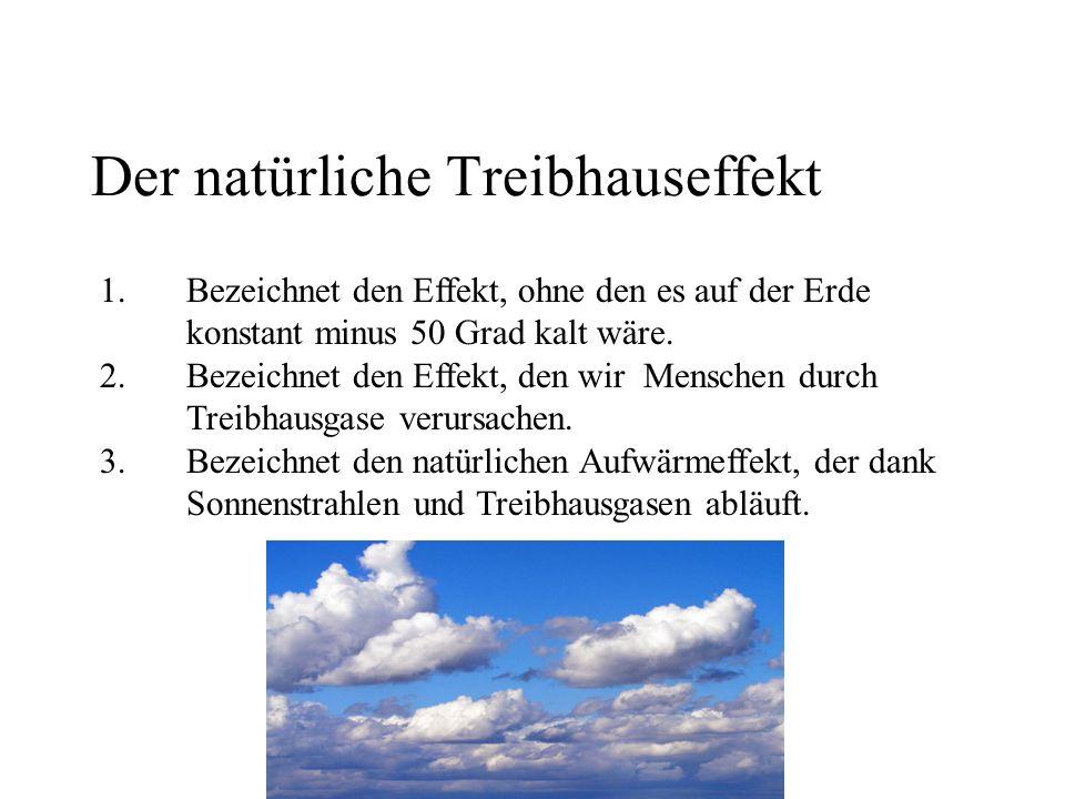 Der natürliche Treibhauseffekt 1.Bezeichnet den Effekt, ohne den es auf der Erde konstant minus 50 Grad kalt wäre.