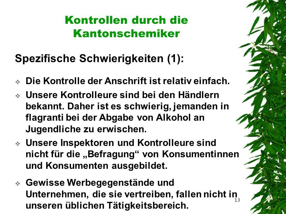 13 Kontrollen durch die Kantonschemiker Spezifische Schwierigkeiten (1):  Die Kontrolle der Anschrift ist relativ einfach.