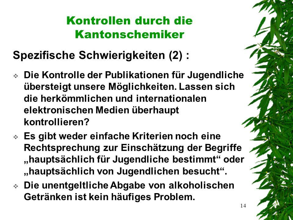14 Kontrollen durch die Kantonschemiker Spezifische Schwierigkeiten (2) :  Die Kontrolle der Publikationen für Jugendliche übersteigt unsere Möglichkeiten.