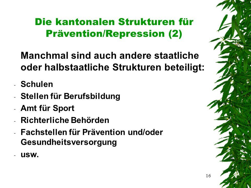 16 Die kantonalen Strukturen für Prävention/Repression (2) Manchmal sind auch andere staatliche oder halbstaatliche Strukturen beteiligt: - Schulen - Stellen für Berufsbildung - Amt für Sport - Richterliche Behörden - Fachstellen für Prävention und/oder Gesundheitsversorgung - usw.