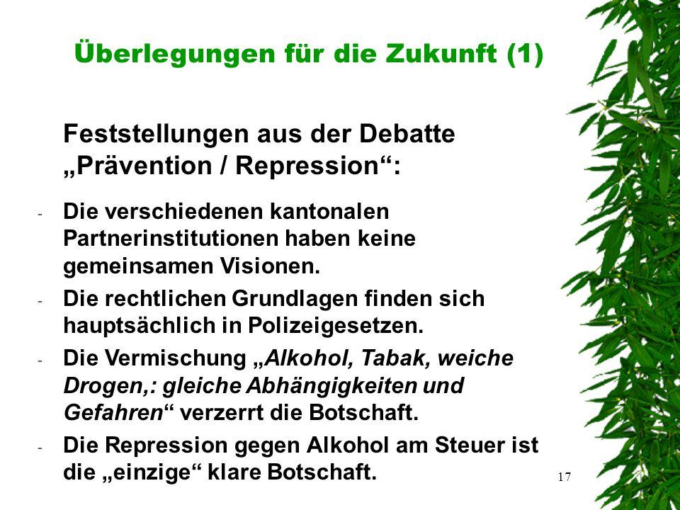 """17 Überlegungen für die Zukunft (1) Feststellungen aus der Debatte """"Prävention / Repression : - Die verschiedenen kantonalen Partnerinstitutionen haben keine gemeinsamen Visionen."""