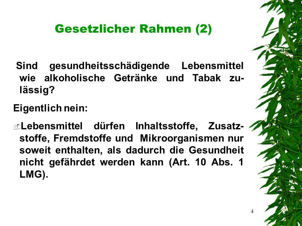 4 Gesetzlicher Rahmen (2) Sind gesundheitsschädigende Lebensmittel wie alkoholische Getränke und Tabak zu- lässig.