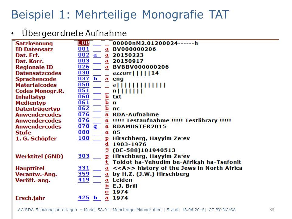 Beispiel 1: Mehrteilige Monografie TAT Übergeordnete Aufnahme AG RDA Schulungsunterlagen – Modul 5A.01: Mehrteilige Monografien | Stand: 18.06.2015| CC BY-NC-SA 33