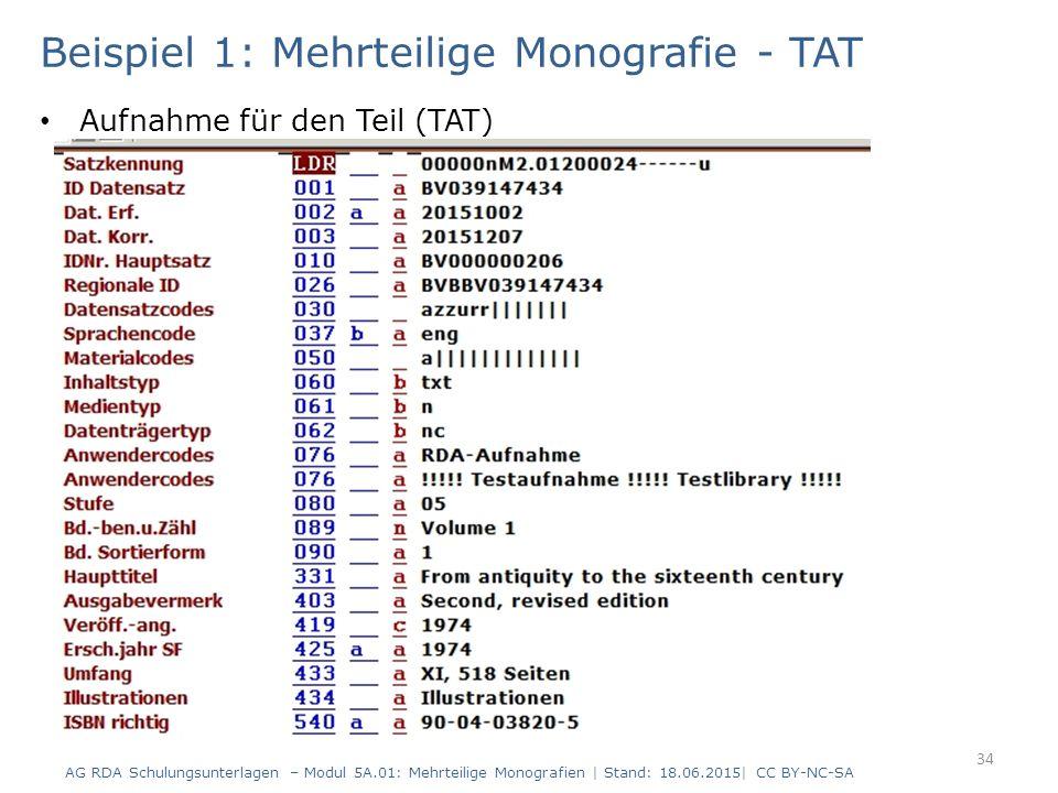 Beispiel 1: Mehrteilige Monografie - TAT Aufnahme für den Teil (TAT) AG RDA Schulungsunterlagen – Modul 5A.01: Mehrteilige Monografien | Stand: 18.06.2015| CC BY-NC-SA 34