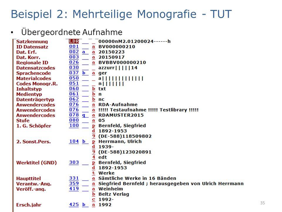 Beispiel 2: Mehrteilige Monografie - TUT Übergeordnete Aufnahme 35
