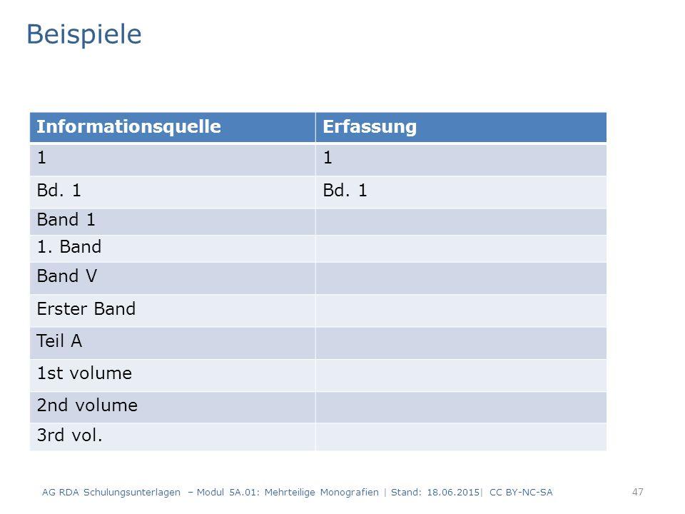 AG RDA Schulungsunterlagen – Modul 5A.01: Mehrteilige Monografien | Stand: 18.06.2015| CC BY-NC-SA 47 InformationsquelleErfassung 11 Bd.