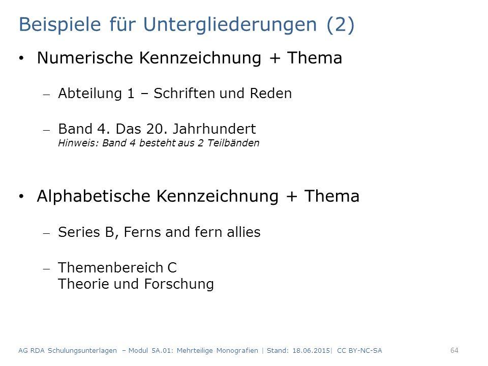 Beispiele für Untergliederungen (2) Numerische Kennzeichnung + Thema Abteilung 1 – Schriften und Reden Band 4.