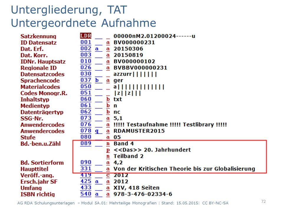 Untergliederung, TAT Untergeordnete Aufnahme AG RDA Schulungsunterlagen – Modul 5A.01: Mehrteilige Monografien | Stand: 15.05.2015| CC BY-NC-SA 72