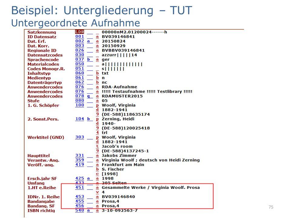 Beispiel: Untergliederung – TUT Untergeordnete Aufnahme 75