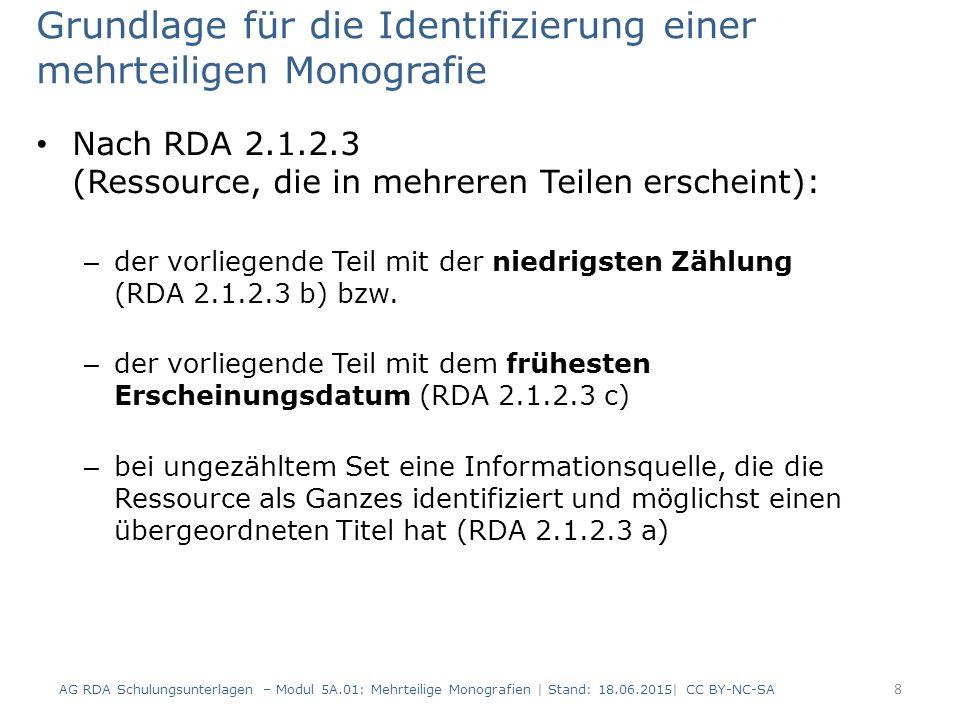 Grundlage für die Identifizierung einer mehrteiligen Monografie Nach RDA 2.1.2.3 (Ressource, die in mehreren Teilen erscheint): – der vorliegende Teil mit der niedrigsten Zählung (RDA 2.1.2.3 b) bzw.