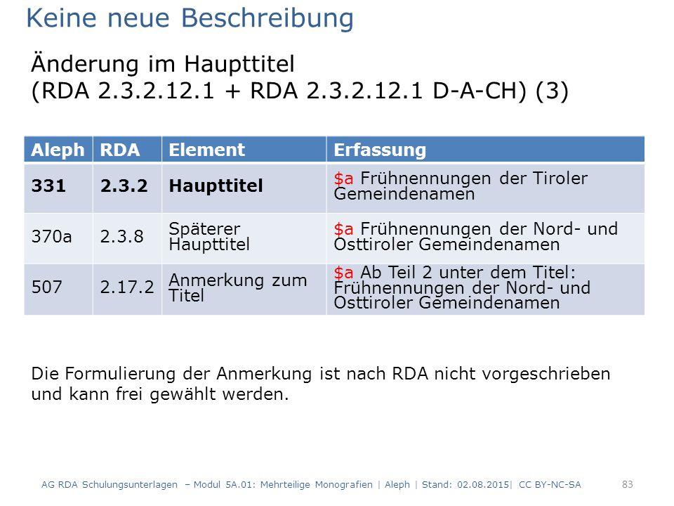 83 AlephRDAElementErfassung 3312.3.2Haupttitel $a Frühnennungen der Tiroler Gemeindenamen 370a2.3.8 Späterer Haupttitel $a Frühnennungen der Nord- und Osttiroler Gemeindenamen 5072.17.2 Anmerkung zum Titel $a Ab Teil 2 unter dem Titel: Frühnennungen der Nord- und Osttiroler Gemeindenamen Keine neue Beschreibung Die Formulierung der Anmerkung ist nach RDA nicht vorgeschrieben und kann frei gewählt werden.