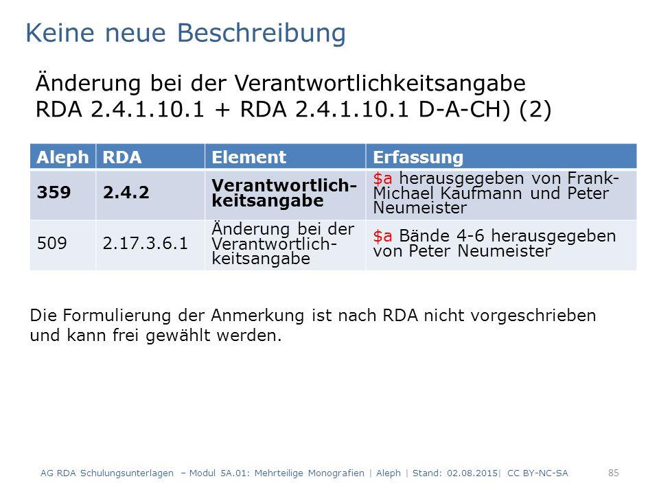 85 AlephRDAElementErfassung 3592.4.2 Verantwortlich- keitsangabe $a herausgegeben von Frank- Michael Kaufmann und Peter Neumeister 5092.17.3.6.1 Änderung bei der Verantwortlich- keitsangabe $a Bände 4-6 herausgegeben von Peter Neumeister Keine neue Beschreibung Änderung bei der Verantwortlichkeitsangabe RDA 2.4.1.10.1 + RDA 2.4.1.10.1 D-A-CH) (2) Die Formulierung der Anmerkung ist nach RDA nicht vorgeschrieben und kann frei gewählt werden.