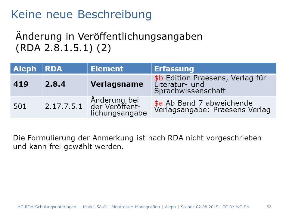 88 AlephRDAElementErfassung 4192.8.4Verlagsname $b Edition Praesens, Verlag für Literatur- und Sprachwissenschaft 5012.17.7.5.1 Änderung bei der Veröffent- lichungsangabe $a Ab Band 7 abweichende Verlagsangabe: Praesens Verlag Keine neue Beschreibung Änderung in Veröffentlichungsangaben (RDA 2.8.1.5.1) (2) Die Formulierung der Anmerkung ist nach RDA nicht vorgeschrieben und kann frei gewählt werden.