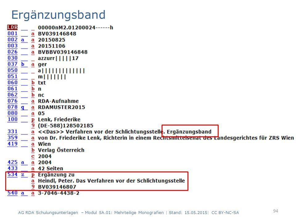 Ergänzungsband AG RDA Schulungsunterlagen – Modul 5A.01: Mehrteilige Monografien | Stand: 15.05.2015| CC BY-NC-SA 94