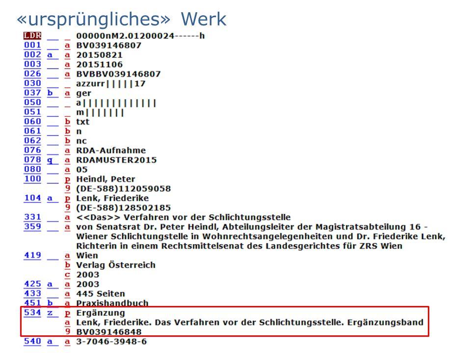 «ursprüngliches» Werk AG RDA Schulungsunterlagen – Modul 5A.01: Mehrteilige Monografien | Stand: 15.05.2015| CC BY-NC-SA 95