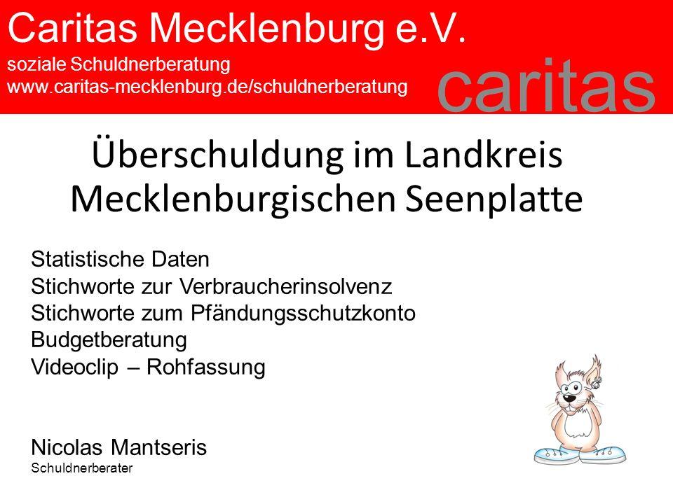 Caritas Mecklenburg e.V. soziale Schuldnerberatung www.caritas-mecklenburg.de/schuldnerberatung caritas Überschuldung im Landkreis Mecklenburgischen S