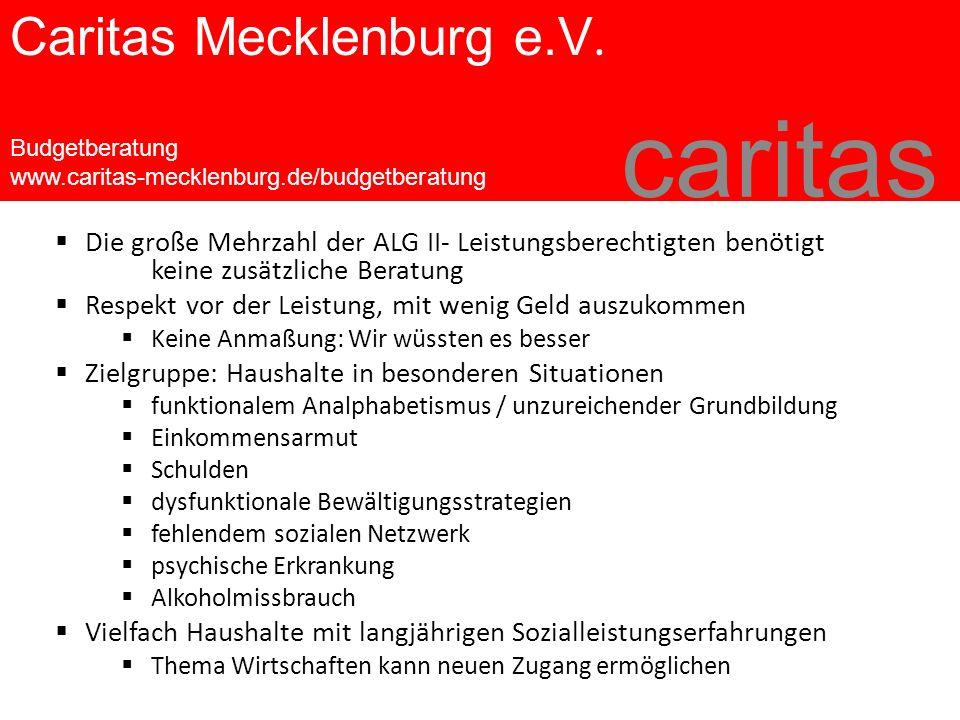 Caritas Mecklenburg e.V. Budgetberatung www.caritas-mecklenburg.de/budgetberatung caritas  Die große Mehrzahl der ALG II- Leistungsberechtigten benöt