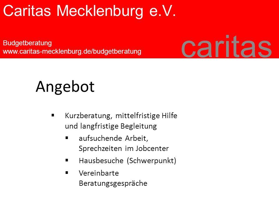 Caritas Mecklenburg e.V. Budgetberatung www.caritas-mecklenburg.de/budgetberatung caritas  Kurzberatung, mittelfristige Hilfe und langfristige Beglei