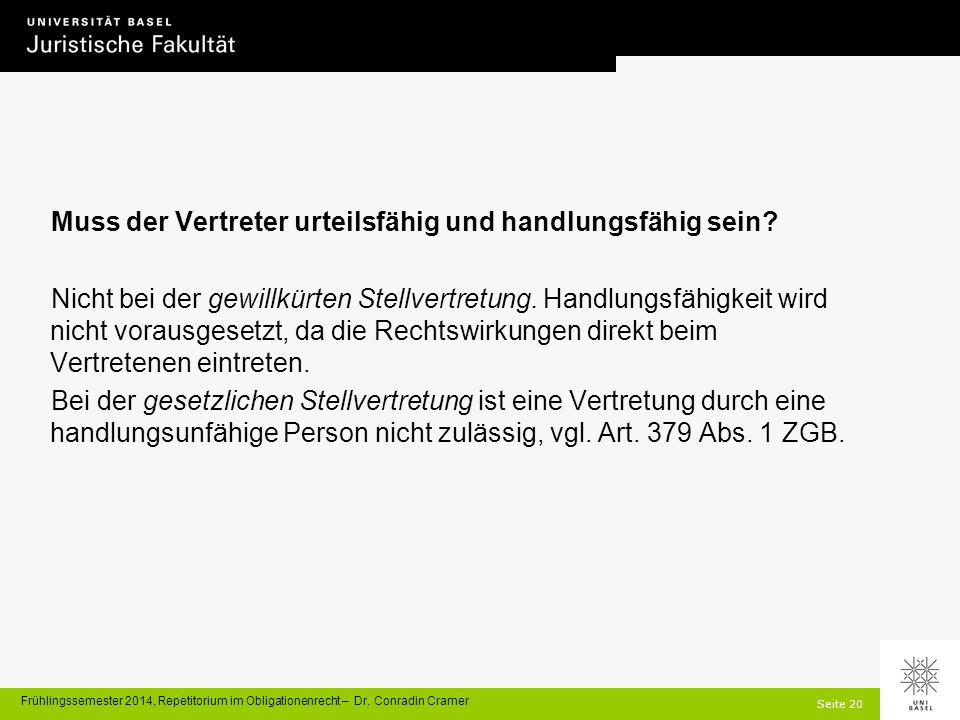 Seite 20 Frühlingssemester 2014, Repetitorium im Obligationenrecht – Dr.