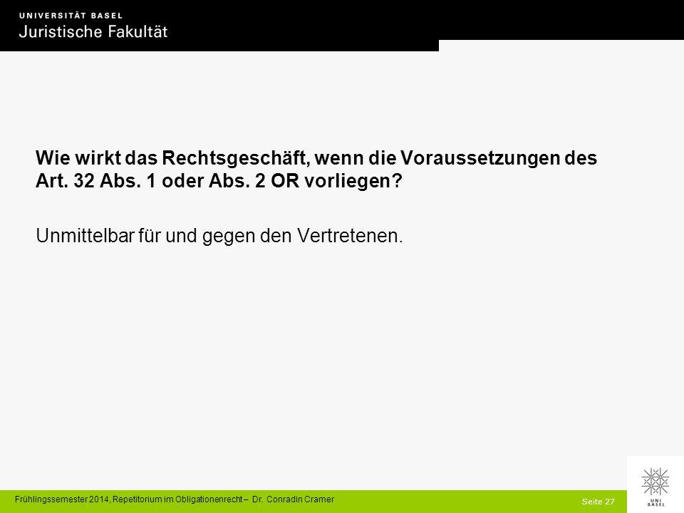 Seite 27 Frühlingssemester 2014, Repetitorium im Obligationenrecht – Dr.