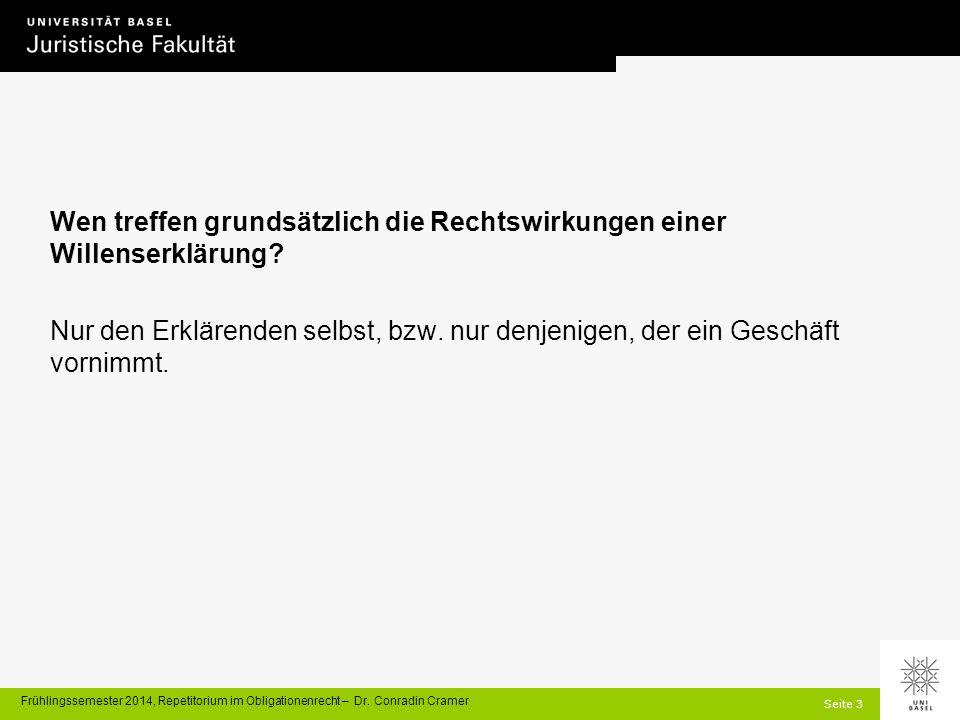 Seite 3 Frühlingssemester 2014, Repetitorium im Obligationenrecht – Dr.