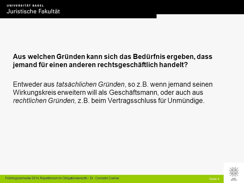 Seite 4 Frühlingssemester 2014, Repetitorium im Obligationenrecht – Dr.