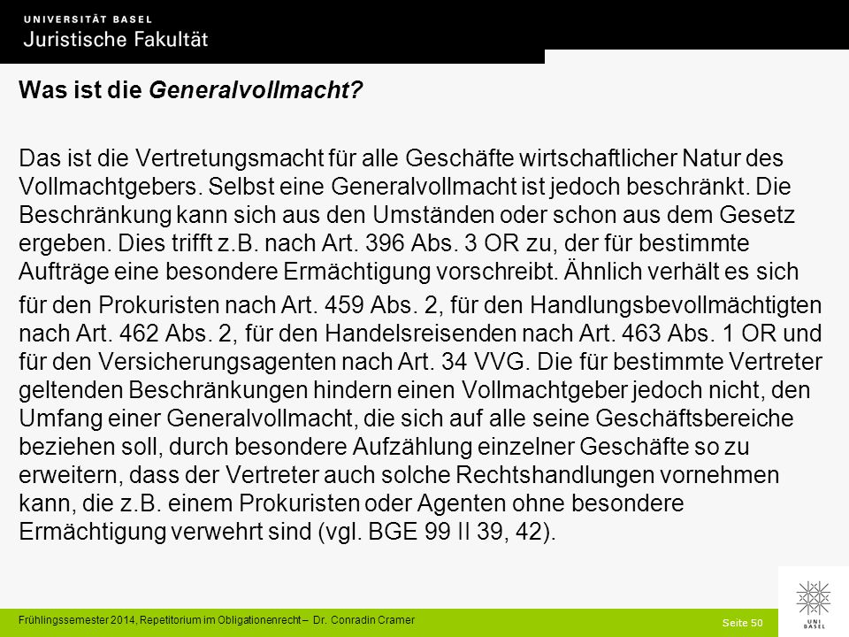 Seite 50 Frühlingssemester 2014, Repetitorium im Obligationenrecht – Dr.