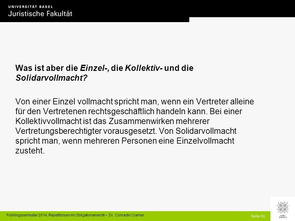 Seite 51 Frühlingssemester 2014, Repetitorium im Obligationenrecht – Dr.