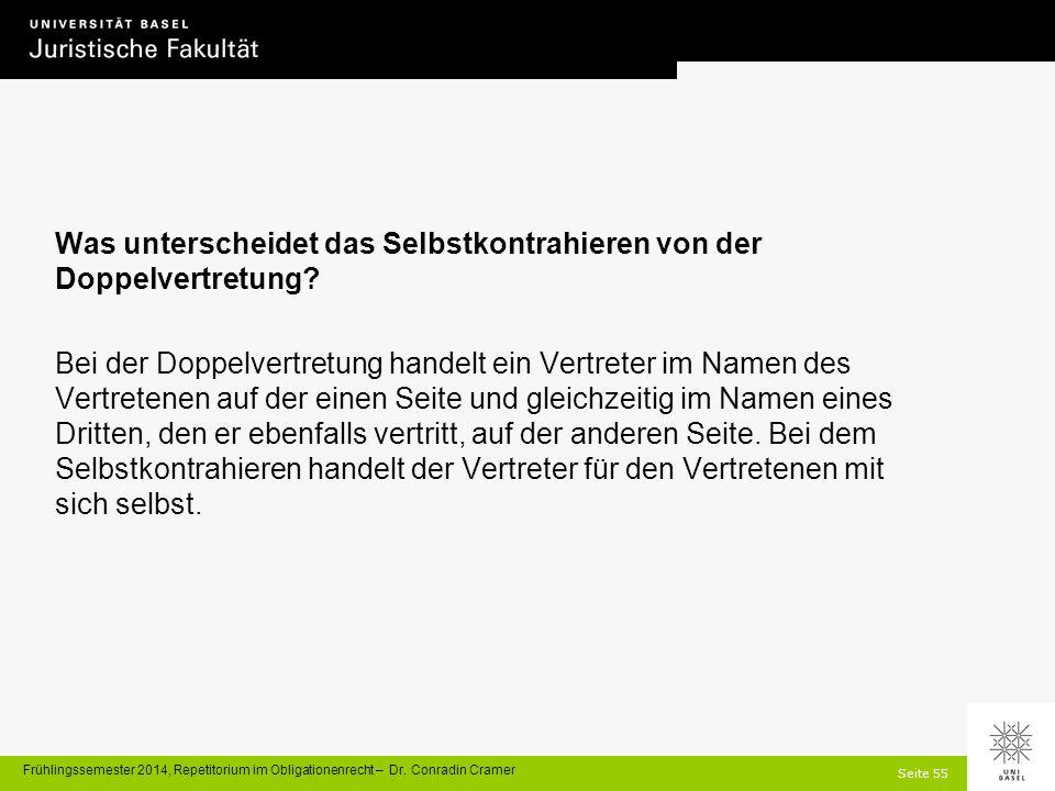 Seite 55 Frühlingssemester 2014, Repetitorium im Obligationenrecht – Dr.