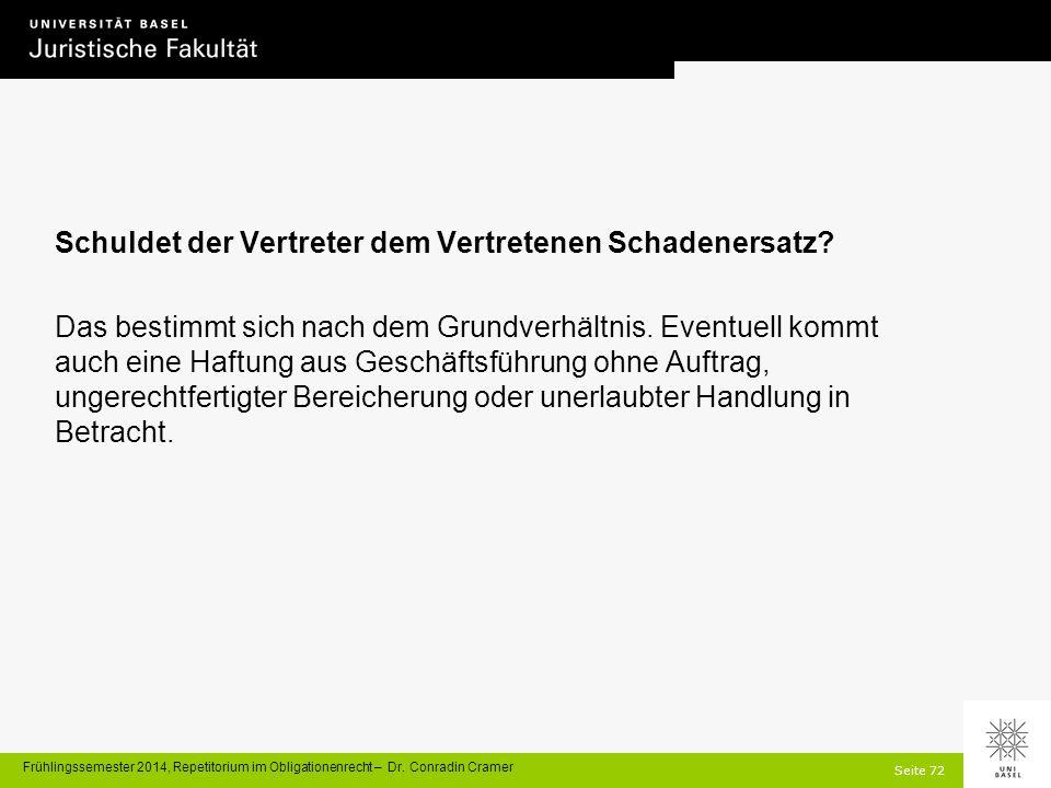 Seite 72 Frühlingssemester 2014, Repetitorium im Obligationenrecht – Dr.