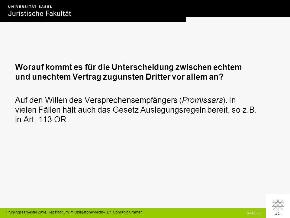 Seite 80 Frühlingssemester 2014, Repetitorium im Obligationenrecht – Dr.