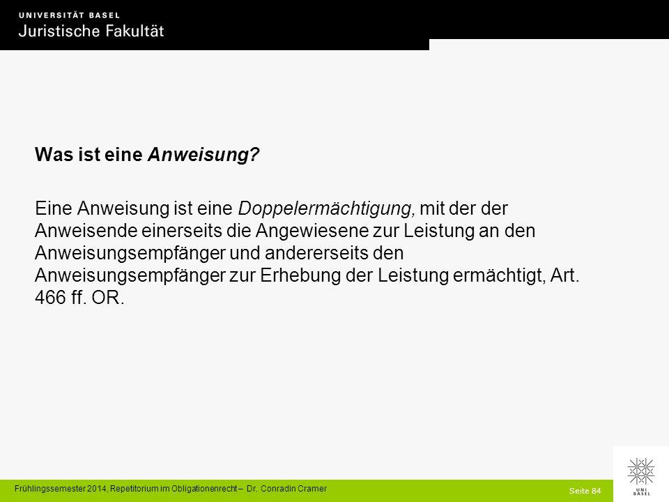Seite 84 Frühlingssemester 2014, Repetitorium im Obligationenrecht – Dr.