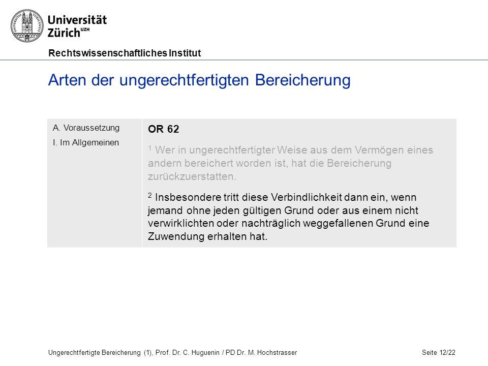 Rechtswissenschaftliches Institut Arten der ungerechtfertigten Bereicherung Seite 12/22 A.