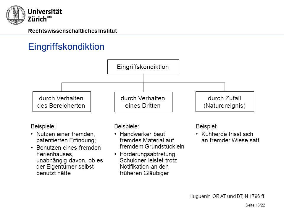 Rechtswissenschaftliches Institut Eingriffskondiktion Seite 16/22 Huguenin, OR AT und BT, N 1796 ff.