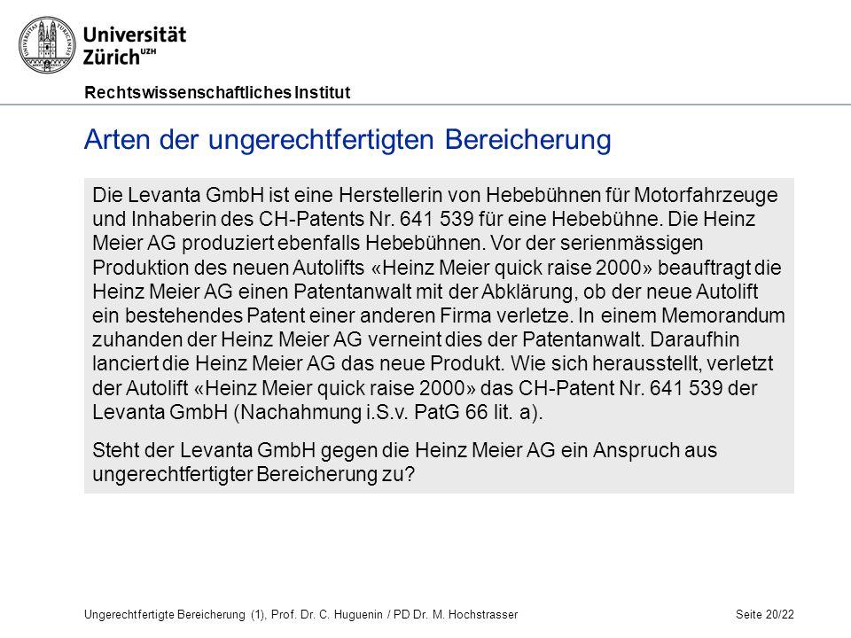 Rechtswissenschaftliches Institut Seite 20/22 Die Levanta GmbH ist eine Herstellerin von Hebebühnen für Motorfahrzeuge und Inhaberin des CH-Patents Nr.