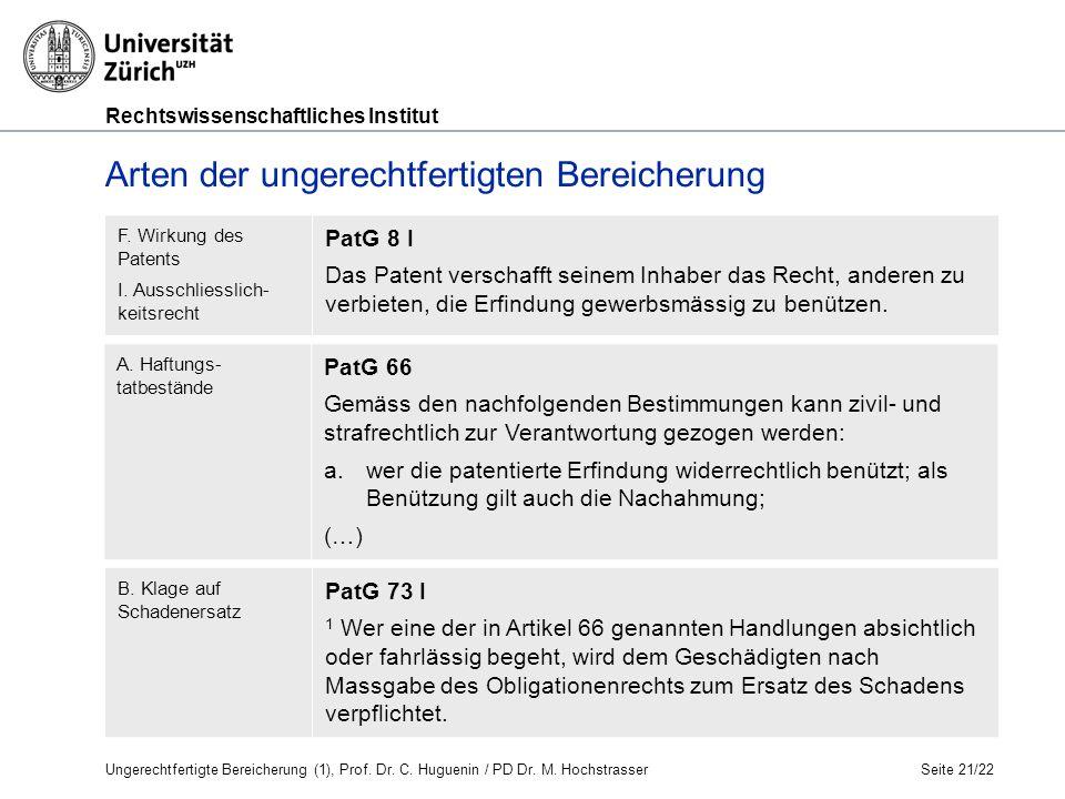 Rechtswissenschaftliches Institut Seite 21/22 A.