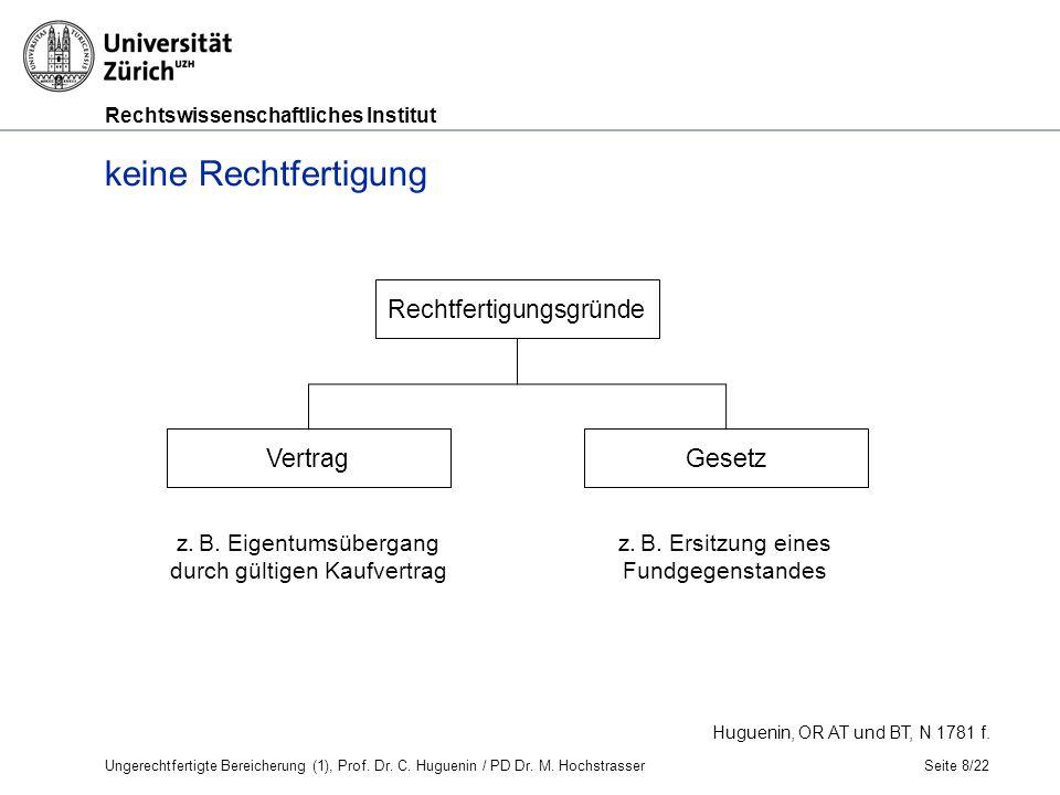 Rechtswissenschaftliches Institut Arten der ungerechtfertigten Bereicherung Seite 19/22 A.