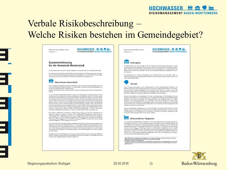 Regierungspräsidium Stuttgart Verbale Risikobeschreibung – Welche Risiken bestehen im Gemeindegebiet.