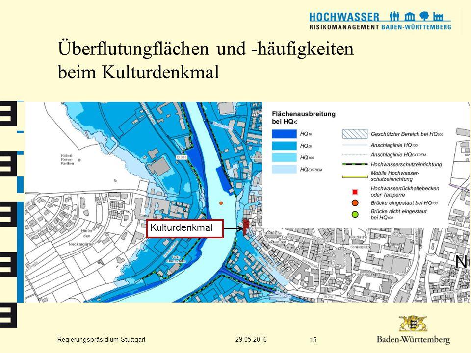 Regierungspräsidium Stuttgart Überflutungflächen und -häufigkeiten beim Kulturdenkmal 29.05.2016 15 Kulturdenkmal