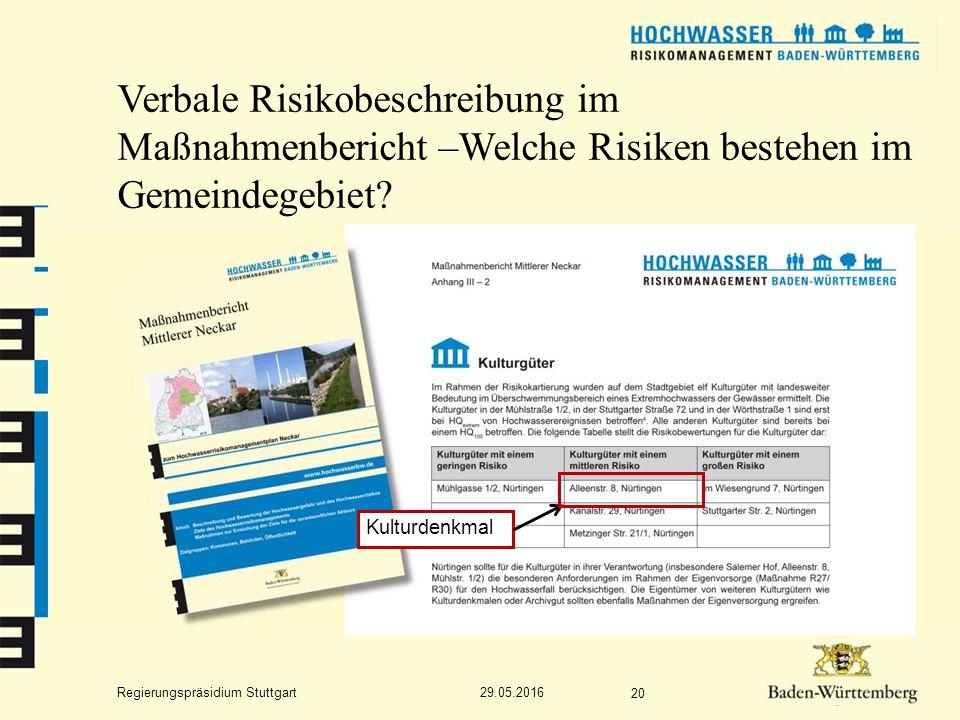 Regierungspräsidium Stuttgart Verbale Risikobeschreibung im Maßnahmenbericht –Welche Risiken bestehen im Gemeindegebiet.