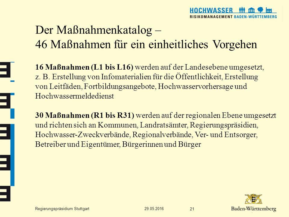 Regierungspräsidium Stuttgart Der Maßnahmenkatalog – 46 Maßnahmen für ein einheitliches Vorgehen 16 Maßnahmen (L1 bis L16) werden auf der Landesebene umgesetzt, z.