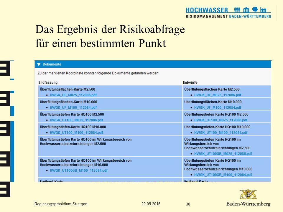 Regierungspräsidium Stuttgart Das Ergebnis der Risikoabfrage für einen bestimmten Punkt 29.05.2016 30