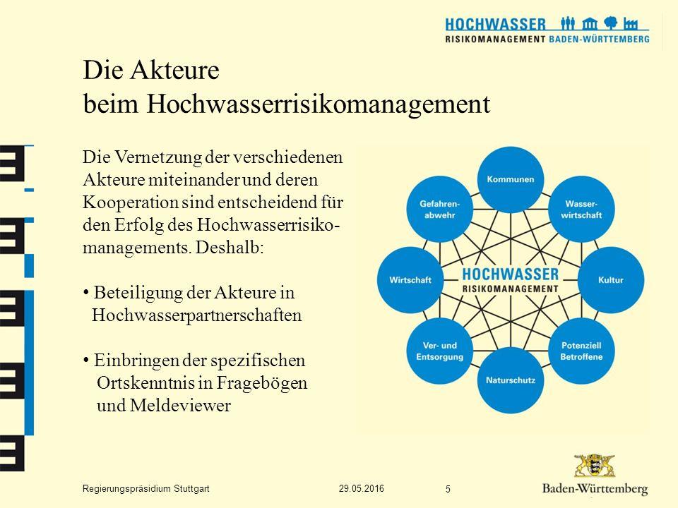 Regierungspräsidium Stuttgart Die Akteure beim Hochwasserrisikomanagement Die Vernetzung der verschiedenen Akteure miteinander und deren Kooperation sind entscheidend für den Erfolg des Hochwasserrisiko- managements.