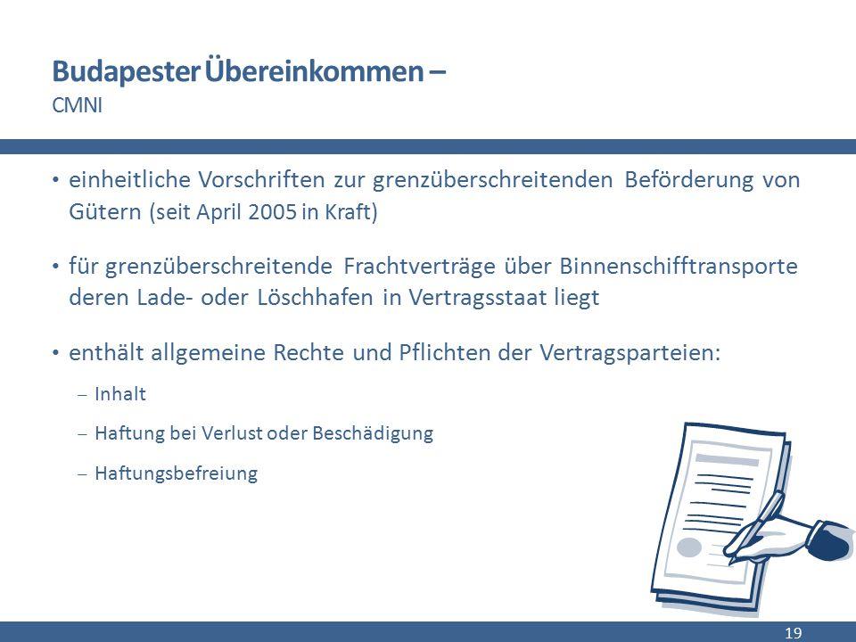 Budapester Übereinkommen – CMNI einheitliche Vorschriften zur grenzüberschreitenden Beförderung von Gütern (seit April 2005 in Kraft) für grenzübersch