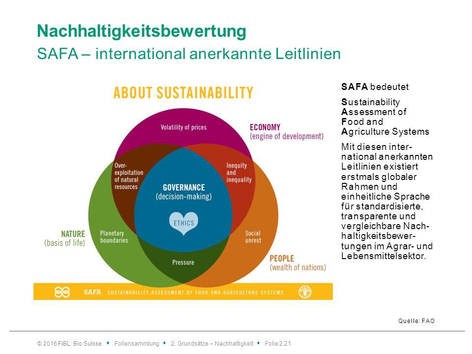 Nachhaltigkeitsbewertung SAFA – international anerkannte Leitlinien Quelle: FAO SAFA bedeutet Sustainability Assessment of Food and Agriculture Systems Mit diesen inter- national anerkannten Leitlinien existiert erstmals globaler Rahmen und einheitliche Sprache für standardisierte, transparente und vergleichbare Nach- haltigkeitsbewer- tungen im Agrar- und Lebensmittelsektor.