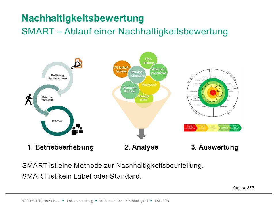 Nachhaltigkeitsbewertung SMART – Ablauf einer Nachhaltigkeitsbewertung Quelle: SFS SMART ist eine Methode zur Nachhaltigkeitsbeurteilung.