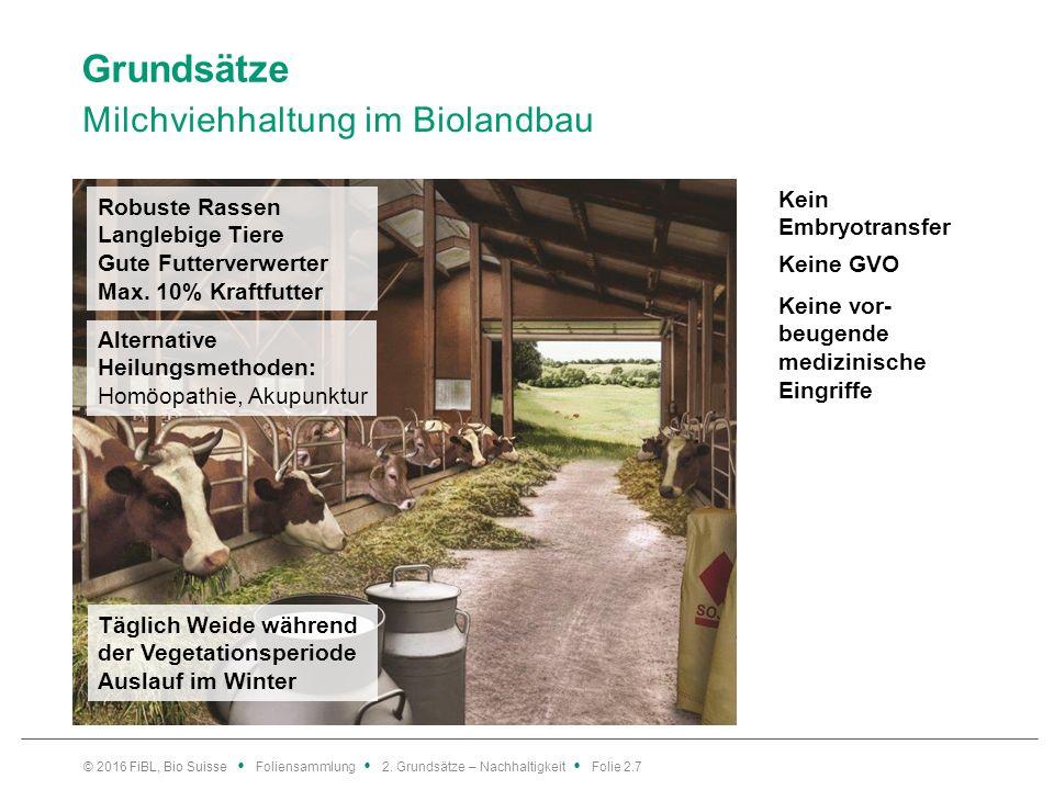 Grundsätze Milchviehhaltung im Biolandbau © 2016 FiBL, Bio Suisse Foliensammlung 2.